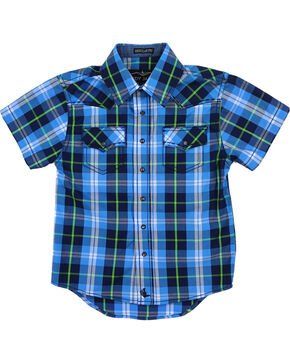 Cody James Toddlers' Plaid Short Sleeve Shirt , Blue, hi-res