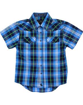 Cody James Toddlers' Plaid Short Sleeve Shirt , Blue, hi-res