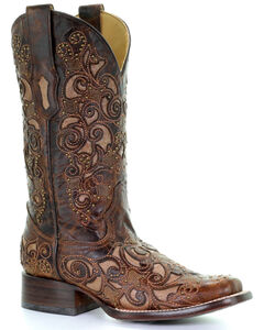 Corral Women's Brown Inlay and Stud Accents Boots - Square Toe , , hi-res