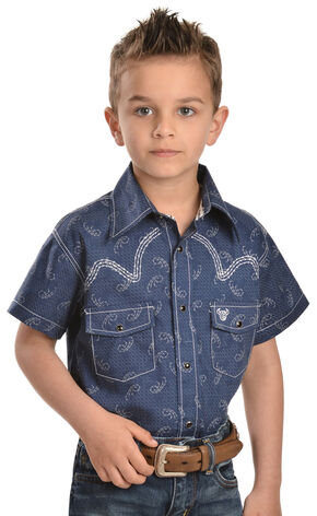 Cowboy Hardware Boys' Barbed Wire Short Sleeve Shirt, Navy, hi-res