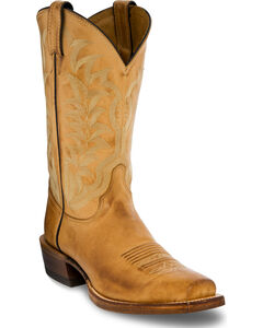 Justin Men's Distressed Light Brown Leather Cowboy Boots - Square Toe, , hi-res