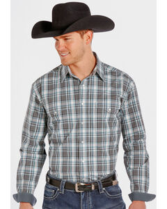 Rough Stock by Panhandle Slim Teal and Grey Plaid Western Snap Shirt , , hi-res