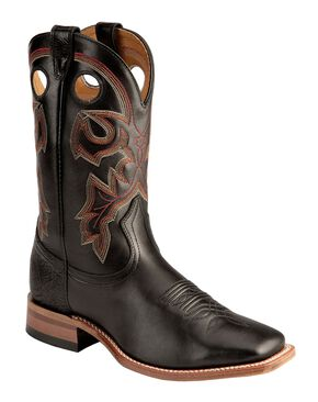 Boulet Torino Stockman Cowboy Boots - Square Toe, Black, hi-res