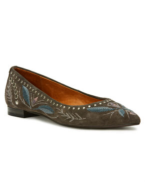 Frye Women's Grey Sienna Embroidered Ballet Flats - Pointed Toe, Grey, hi-res