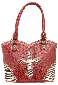 Blazin Roxx Croc Print Zebra Cross Shoulder Bag, , hi-res