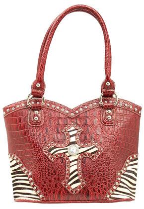 Blazin Roxx Croc Print Zebra Cross Shoulder Bag, Red, hi-res