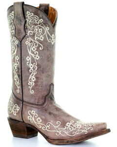 Corral Girls' Crater Bone Embroidered Cowgirl Boot - Snip Toe, , hi-res