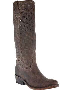 Corral Women's Cut Out Upper Boots - Round Toe, Honey, hi-res