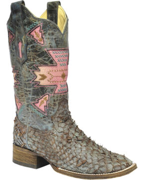Corral Brown Gnarly Fish Skin Cowgirl Boots - Square Toe, Brown, hi-res