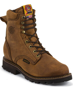 Justin Men's Tool Pusher Waterproof Work Boot - Composite Round Toe, Brown, hi-res