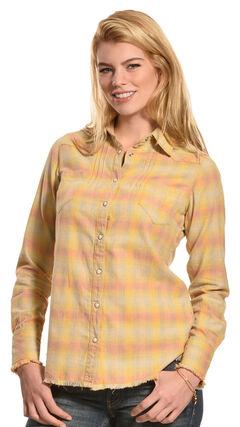 Ryan Michael Women's Vintage Ombre Plaid Shirt, , hi-res