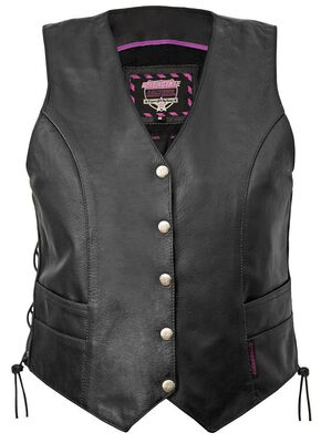 Interstate Leather 5-Snap Side Laced Vest - XL, Black, hi-res