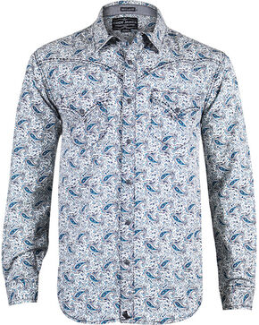 Cody James® Men's Paisley Long Sleeve Shirt, Navy, hi-res