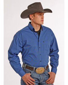 Tuf Cooper Performance Blue and Black Poplin Print Western Shirt , , hi-res