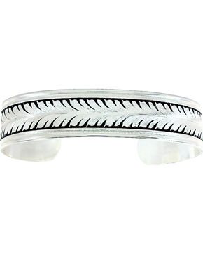 Montana Silversmiths Men's Ray of Wheat Cuff Bracelet , Silver, hi-res