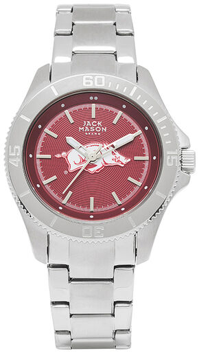 Jack Mason Women's Arkansas Team Color Dial Sport Bracelet Watch , Silver, hi-res