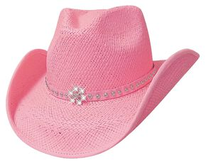 Bullhide All American Straw Cowgirl Hat, Pink, hi-res