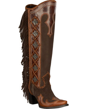 Lane for Double D Ranch Domingo Tall Fringed Suede Boots - Snip Toe, Dark Brown, hi-res