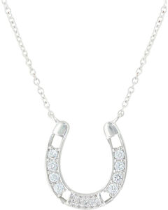 Montana Silversmiths Women's Fastened In Sparkles Horseshoe Necklace , , hi-res