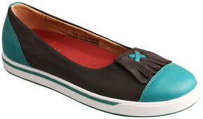 Twisted X Women's Turquoise & Chocolate Casual Slip-On Shoes , Chocolate, hi-res