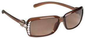 Blazin Roxx UV 400 Protection Rhinestone Studded Horseshoe Sunglasses, Brown, hi-res