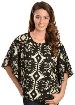 Red Ranch Women's Black & White Ikat Top, , hi-res