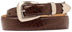 Double Barrel Gator Print Leather Belt, , hi-res