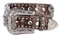 Blazin Roxx Crystal & Cross Concho Croc Print Leather Belt, , hi-res