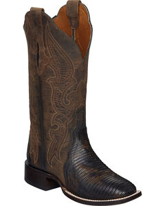 Lucchese Brown Marissa Lizard Cowgirl Boots - Square Toe , , hi-res