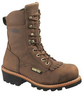 "Wolverine Chesapeake 8"" Waterproof Logger Work Boots - Steel Toe, Brown, hi-res"
