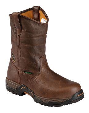 Georgia Boot Diamond Trax Waterproof Pull-On Wellington Work Boots - Round Toe, Chocolate, hi-res