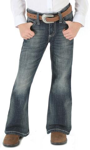 Wrangler Girls' Premium Patch Thick Stitch Bootcut Jeans - 4-14, Denim, hi-res