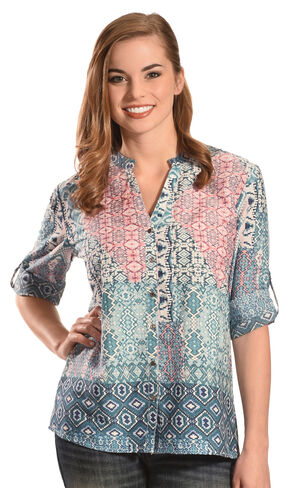Tantrums Women's Multi-Print Y-Neck Top , Multi, hi-res