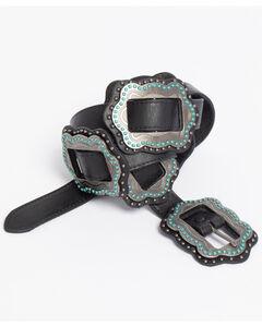 Roper Women's Black Slide-On Conchos Belt, , hi-res