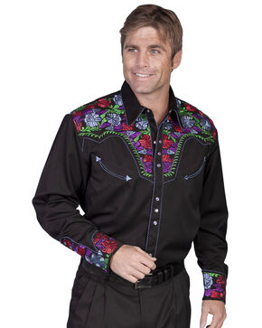 Scully Vibrant Floral Embroidered Retro Western Shirt, Black, hi-res