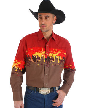 Wrangler Men's Rust Checotah Horses Western Shirt , Copper, hi-res
