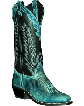 Abilene Women's Two Toned Cowhide Western Boots - Square Toe, Black, hi-res