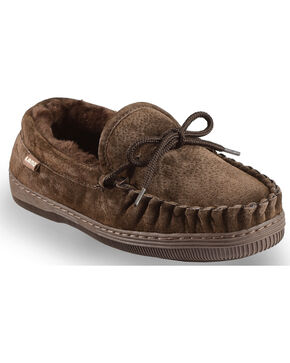 Chestnut Women's Leather Moccasin Slippers, Chocolate, hi-res
