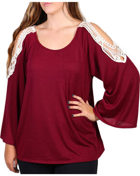 Forgotten Grace Women's Cold Shoulder Long Sleeve Top - Plus, Burgundy, hi-res