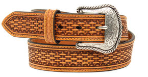 Nocona Men's Basketweave Belt, Tan, hi-res