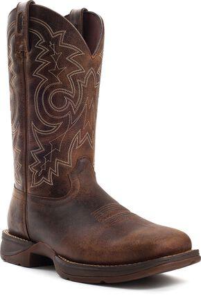 Durango Men's Rebel Waterproof Work Boot - Square Toe, Chocolate, hi-res