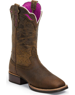 Justin Women's Silver Collection Western Boots - Square Toe, Dark Brown, hi-res