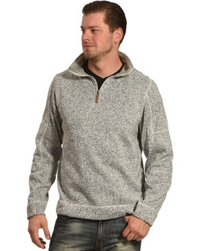 China Leather Men's Heather Knit Quarter Zip Pullover, Grey, hi-res