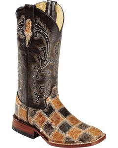 Ferrini Patchwork Cowgirl Boots - Square Toe, , hi-res