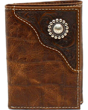 Ariat Men's Tri-Fold Floral Emobossed Overlay Large Concho Wallet, Brown, hi-res