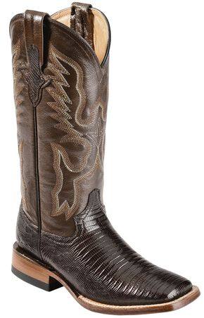 Ferrini Teju Lizard Cowgirl Boots - Wide Square Toe, Chocolate, hi-res