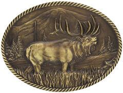 Montana Silversmiths Sculpted Wild Elk Heritage Attitude Belt Buckle, , hi-res