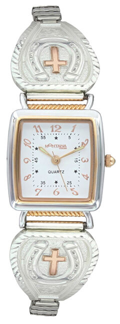 Montana Silversmiths Lucky Faith Cross and Horseshoe Expansion Watch, , hi-res