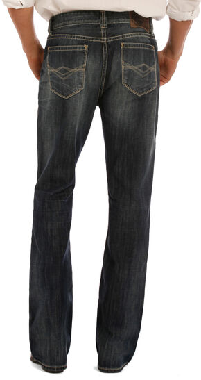 "Rock & Roll Cowboy Men's Indigo ""A"" Embroidery Jeans - Boot Cut, Indigo, hi-res"