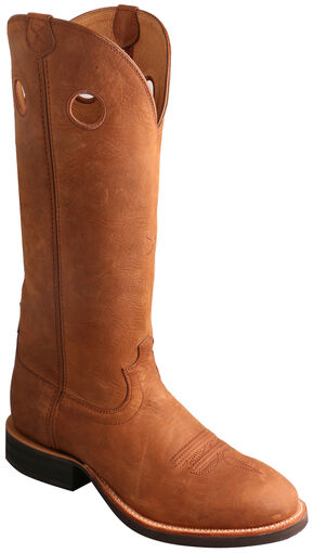 Twisted X Oiled Suede Buckaroo Cowboy Boots - Round Toe , Tan, hi-res